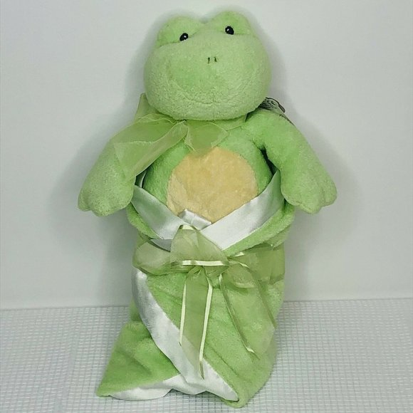 Baby Gund Swaddler Frog Soft Toy With Satin Edge